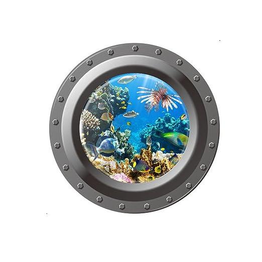 Winhappyhome Submarino 3D ventana falsa pegatinas de pared para ...