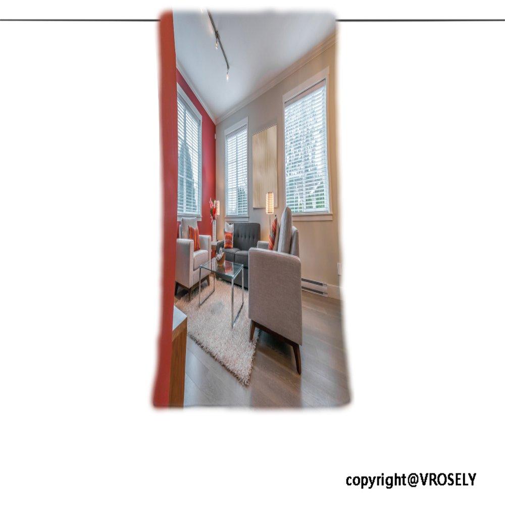 vroselv Custom toalla suave y cómodo playa towel-luxury vida moderna suite con color rojo paredes sala de estar con sofá y sillas diseño de una toalla de ...