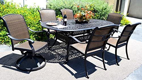 Patio Dining Set 7 Piece Outdoor Cast Aluminum Furniture Santa Clara Dark Bronze