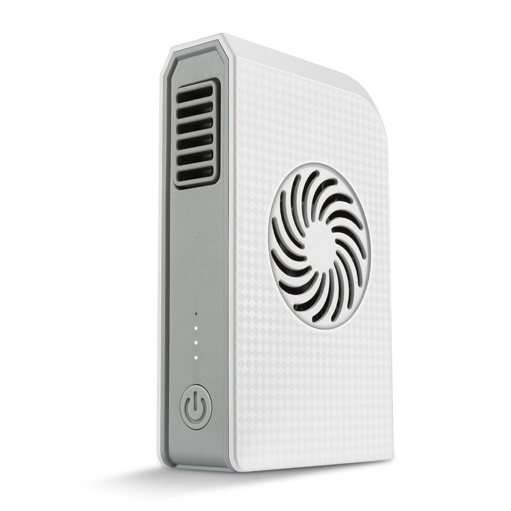 Skyocean Small Personal Fan with 6000mAh Power Bank, Mini Battery Rechargeable USB Fan with Portable Phone Charger Handheld Air Conditioner Summer Cooler Bladeless No Leaf Fan (White)