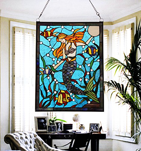 Makenier Vintage Tiffany Style Stained Art Glass Mermaid Window Panel Wall Hanging