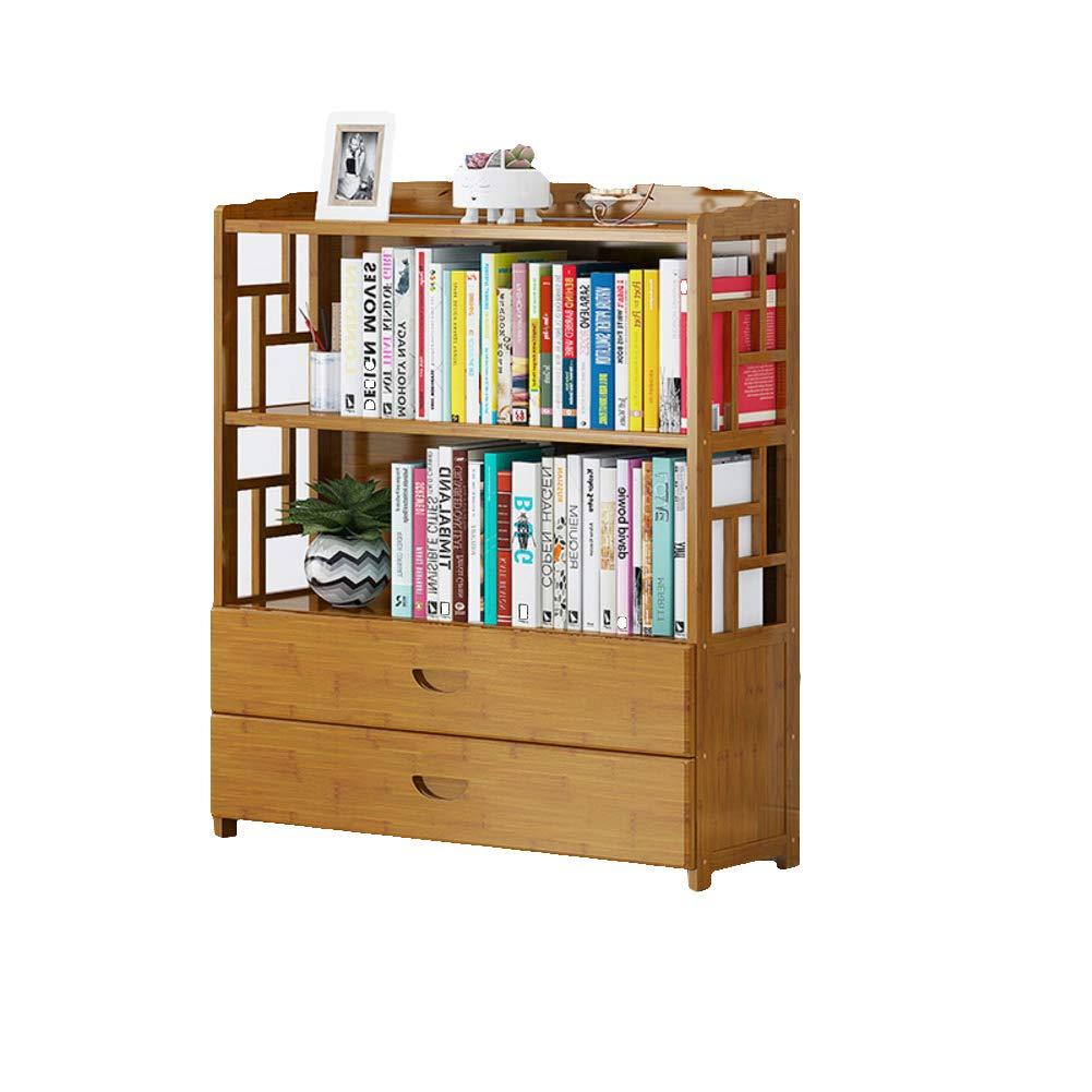 G 80X25X99cm Bamboo Drawer Vintage Bookcase, Multi-Layer Floor-Standing Bookshelf Student Living Room Storage Rack Wood Shelves-E 70X25X99cm