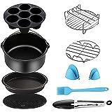 Air Fryer Accessories for Cosori Ninja and Philips, Set of 5/9, Fit all 3.7QT - 5.3QT - 5.8QT,Non-stick Barrel/Pan…