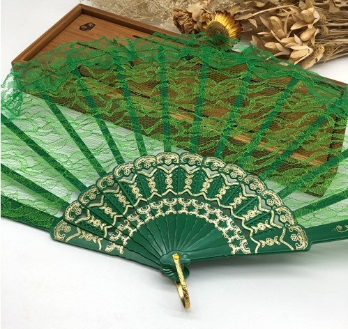 Geen 10Pcs/Lot Spanish Style Plastic Lace Folding Hand Held Flower Fan Dance Fan Decoracion Ornaments by Hand Fan