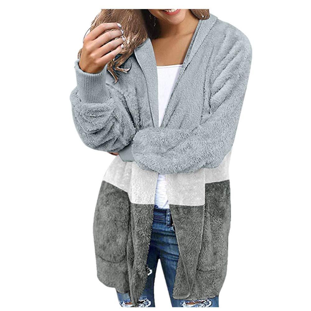 Women's Casual Fuzzy Fleece Hooded Cardigan Open Front Oversized Pocket Faux Fur Outerwear Coat (XL, Blue) by Kinrui Women's Tops & Blouse