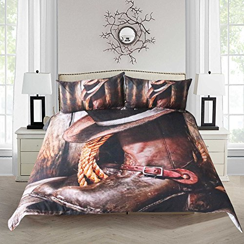 Sleepwish 3D Cowgirl Cowboy Bedding Western Country Duvet Cover Rustic Hat and Boots Pattern Duvet Cover Set (King)