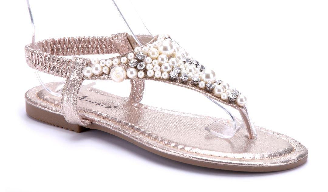 Schuhtempel24 Damen Schuhe Zehentrenner Sandalen Sandaletten Flach Ziersteine  38 EU Gold
