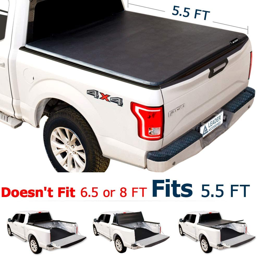 Amazon Com Leader Accessories Tri Fold 5 5ft Tonneau Truck Bed Cover Compatible With Trucks Ford F 150 2015 2018 Styleside Short Bed Automotive