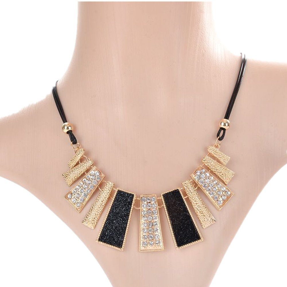 Eshion Jewelry Women's Crystal Chokers Statement Necklaces Rhinestone Choker Necklace Short Chains Jewelry Collier Collar Femme (Blue) truecharms