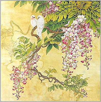 Birds Rest in Wisteria Oil Painting Reprodution. Based on Famous Traditional Chinese Realistic Painting. (Unframed and Unstretched).