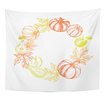 Amazon Com Emvency Wall Tapestry Sketch Thanksgiving Wreath