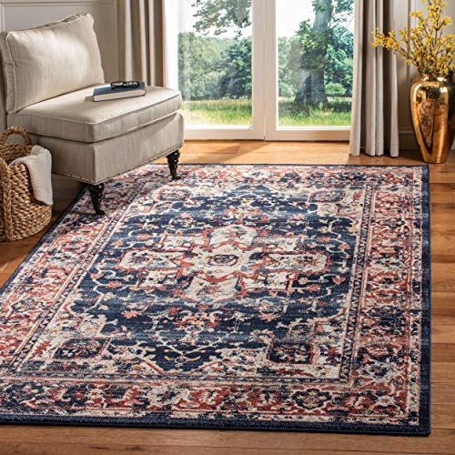 Safavieh CHL411L-8 Charleston Collection CHL411L Navy and Red (8