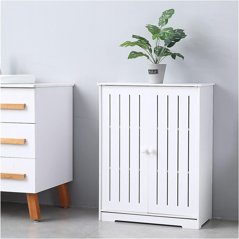 CJWSLYT Living Room Furniture Bathroom Storage Cabinet PVC Double Door Three-Layer 80cm High Waterproof Moisture-Proof Easy to Clean(63x31x80) cm White Bedroom Furniture ZDANFDD (Color : C)