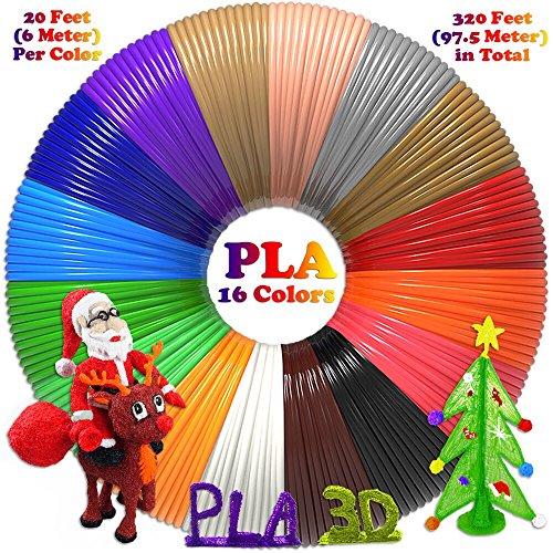 -[ PLA 3D Pen Filament Refills(16 Colors, 20 Feet Each) with 100 Stencils E-books - Dikale 3D Print