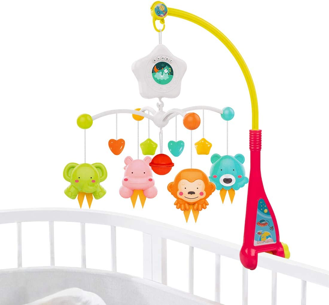 Pink UNIH Baby Crib Mobile Toys with Projector /& Night Lights Infant Sleep Bed Decor Toy for Babies Gift for Newborn 0-24 Months Timing Function Remote Control and Soft Toys Rattles Rotating