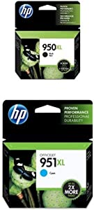 HP 950XL Black High Yield Original Ink Cartridge (CN045AN) and HP 951XL Cyan High Yield Original Ink Cartridge (CN046AN) Bundle