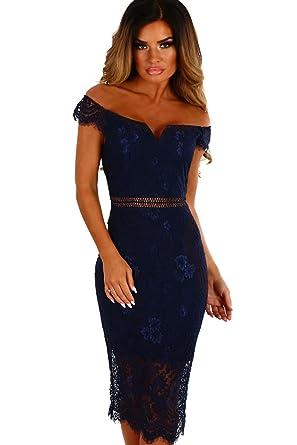 emmarcon elegante abito cerimonia da donna vestito tubino corto scollo a  barchetta festa party-Blue f400f9de859