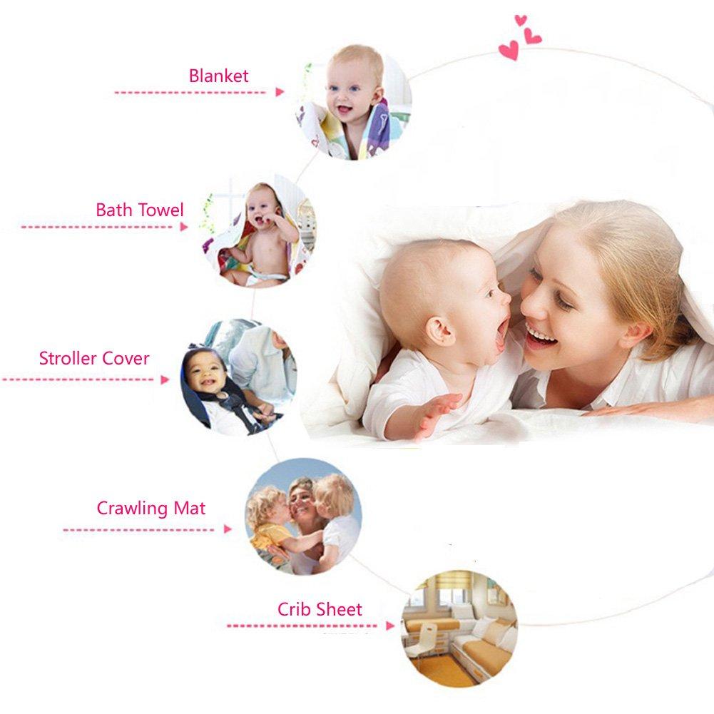 Baby Gauze Blanket/Comforter/Swaddle Boys Girls Bed Quilt 100% Muslin Cotton 6 Layered Crib Dream Blankets for Newborn Toddler Kids (Rabbit Blue)