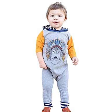 e0038bba8 Baby Jumpsuit,Infant Toddler Boys Girls Indian Wolf Hoodie Rompers Long  Sleeve One-Piece