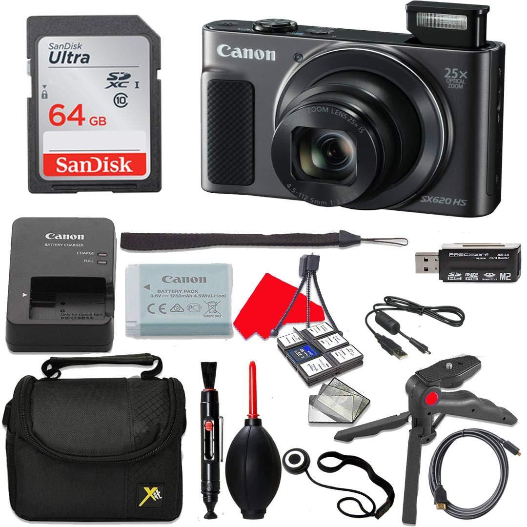 Canon PowerShot SX620 HSデジタルカメラ (ブラック) 64GBメモリーカード+ハンドグリップ三脚+プロフェッショナルアクセサリーバンドル(11アイテム)   B07KFNZ3MG