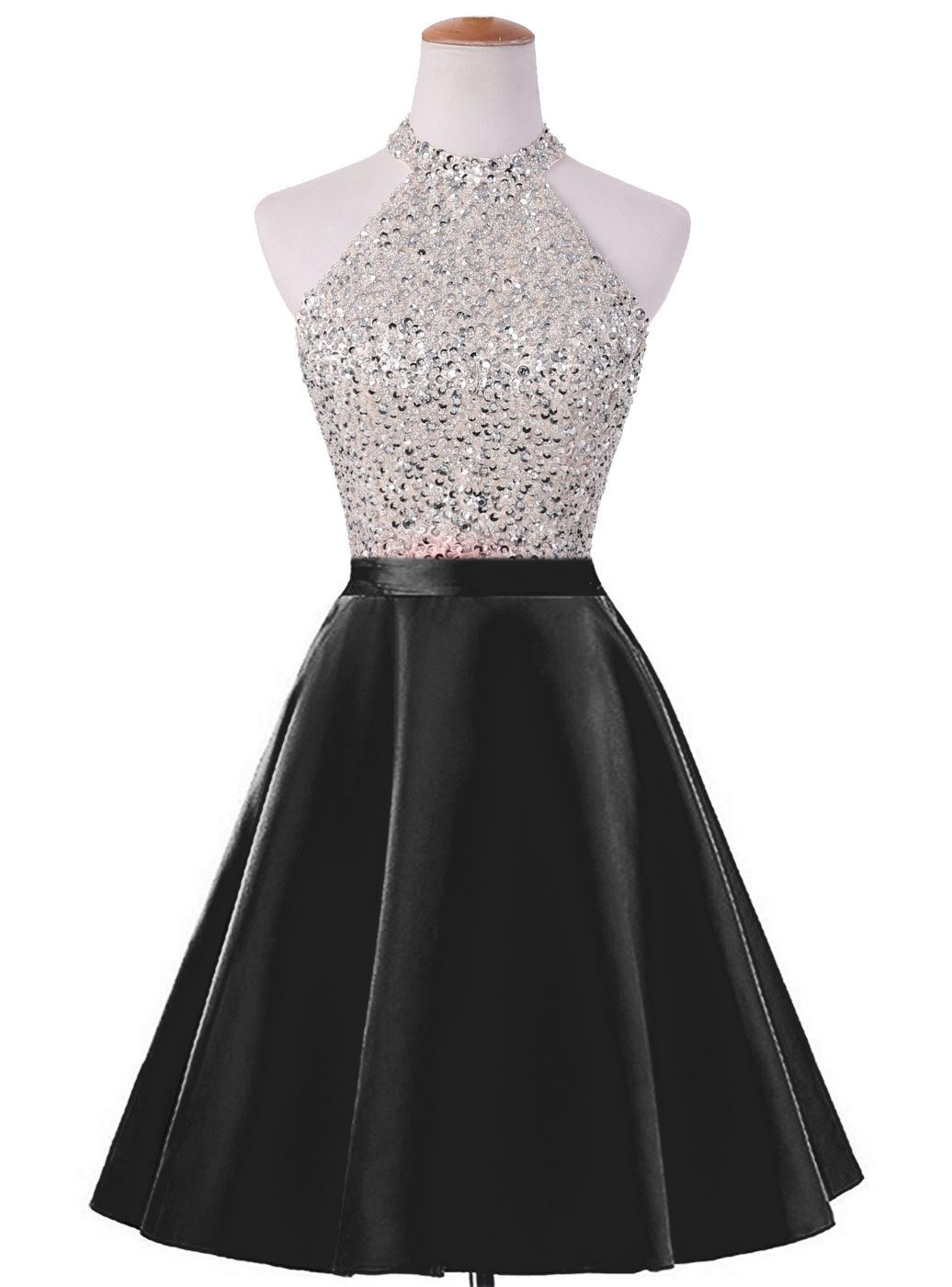 HEIMO Women's Sequined Keyhole Back Homecoming Dresses Beaded Prom Gowns Short H198 10 Black