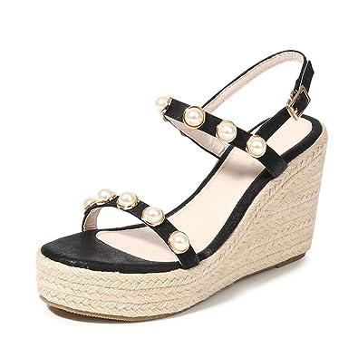 1877fac95b1 MAKEGSI Womens Middle Wedge Heel Ankle Strap Open Toe Shoes Flip Sandals  Jute-Rope Pearls Across