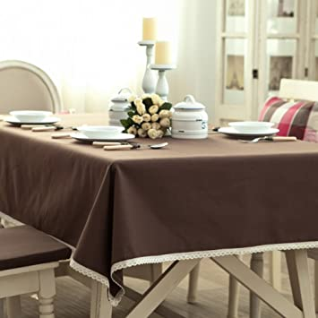 High Quality Toechmo Vintage Multi Purpose Rectangular Cotton Linen Lace Coffee  Tablecloth, Washable Tablecloth Dinner Picnic