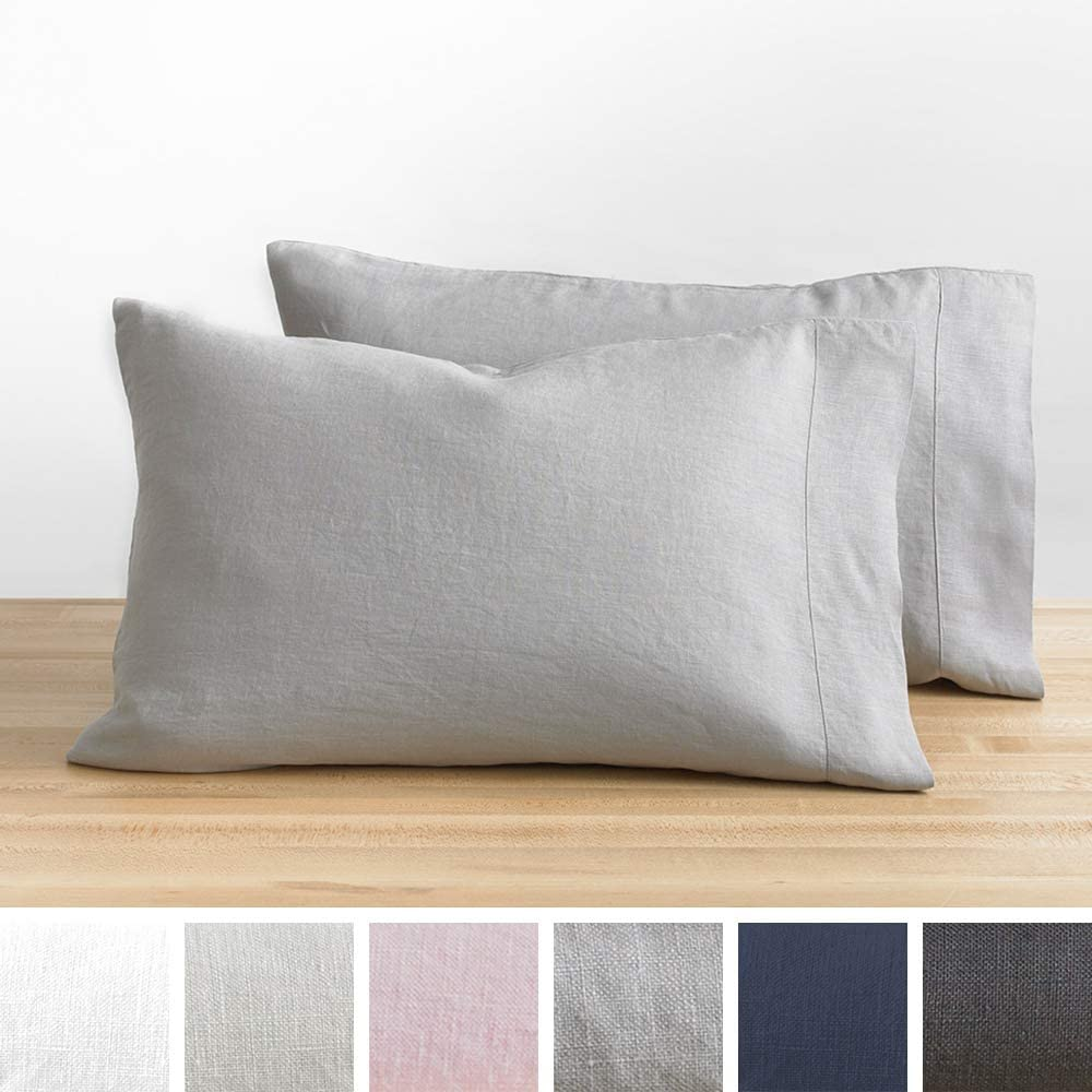 Baloo Pillow Case Set of 2 - Pure French Linen - Made with Premium Natural Chemical-Free Fibers (Dove Grey, Standard Size, 20x30)