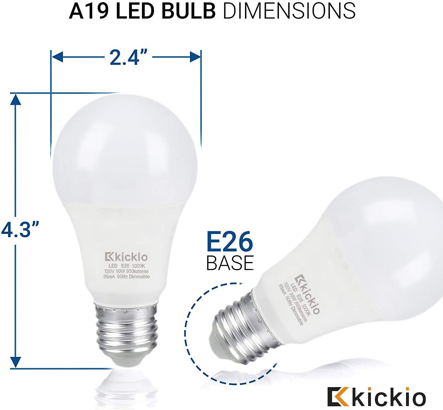 Kickio A19 Led Light Bulbs 10 Watt 800 Lumens 60 Watt Equivalent Dimmable 5000K Daylight White UL Listed E26 Medium Base Pack of 10