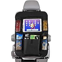 Nasjac Organizador para asiento trasero de automóvil, organizador de asiento trasero para niños, iPad/tableta, uso universal, protege los asientos y mantiene el coche organizado negro, nailon