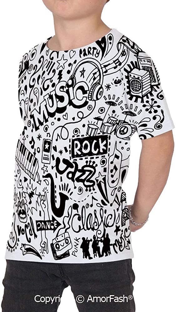 Doodle Girls Short-Sleeve Midweight T-Shirt,Polyester,Music Collection with an A