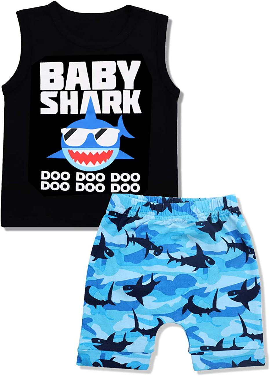 Baby Boy Clothes Shark Doo Doo Doo Print Summer Cotton Sleeveless Outfits Set Tops + Short Pants