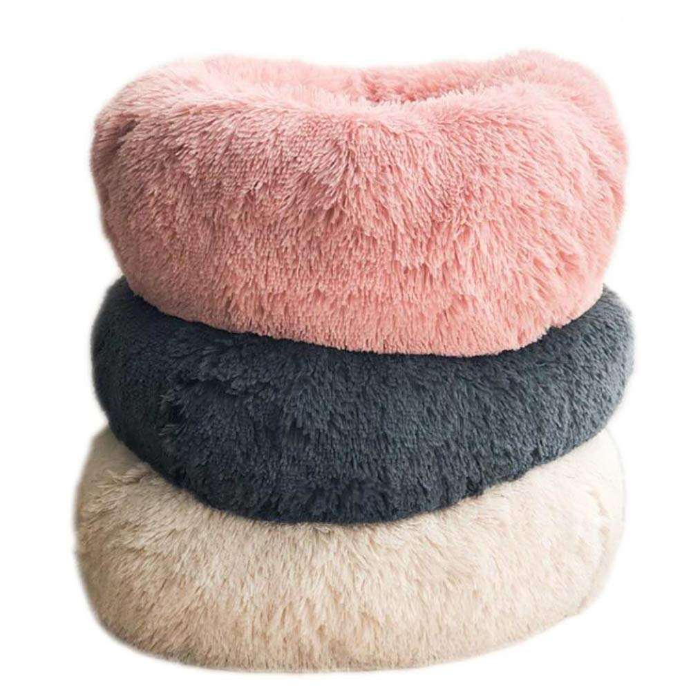 Beige 50cm Beige 50cm Deep Sleep Kenkel, cat Litter, Round Plush, Autumn e Winter mat (Artificial Short Plush)
