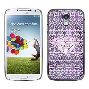 Modelo del diamante rosado púrpura Carat- Metal de aluminio y de plástico duro Caja del teléfono - Negro - Samsung Galaxy S4