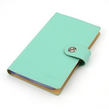 BLUBOON Agenda de Tarjetas Porta-Tarjetas Personales PU Cuero(300-azul)