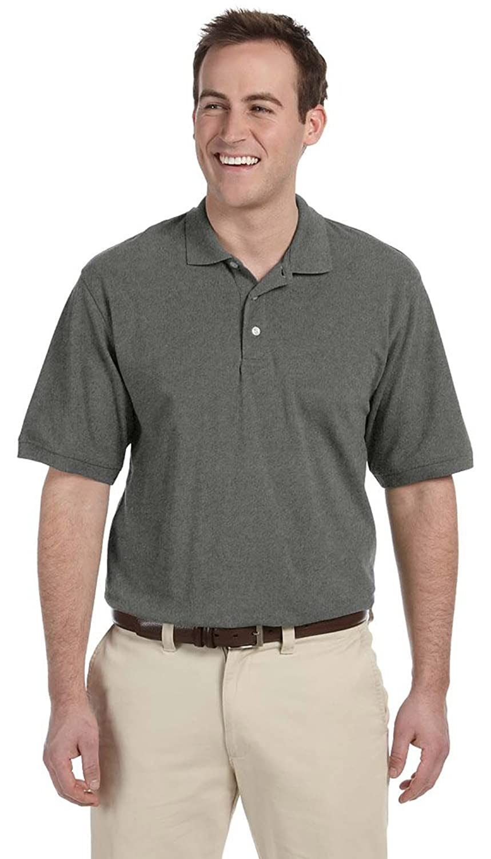 Harriton Men's 6 oz Ringspun Cotton Piqu Short-Sleeve Polo -M200- WHITE