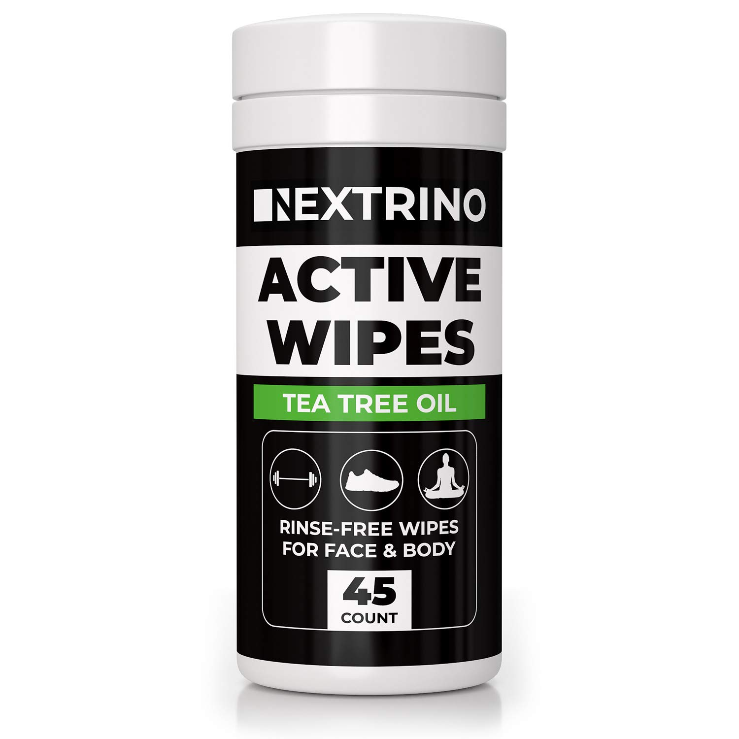 Tea Tree Oil Active Wipes [45 Ct] Cleansing Face and Body Wipe for Men and Women - Biodegradable & Rinse Free: No Shower, No Bath, No Problem - Gym Friendly Travel Container by Nextrino