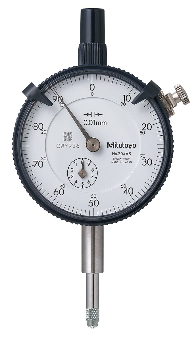 Mitutoyo 2046S, 0.01mm X 10mm Dial Indicator, 0-100, Lug Back, Series 2, 8mm Stem