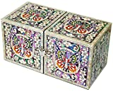 JMcore Mother of Pearl Arabesque & Butterfly Design Jewelry Box Nacre Jewellry Case