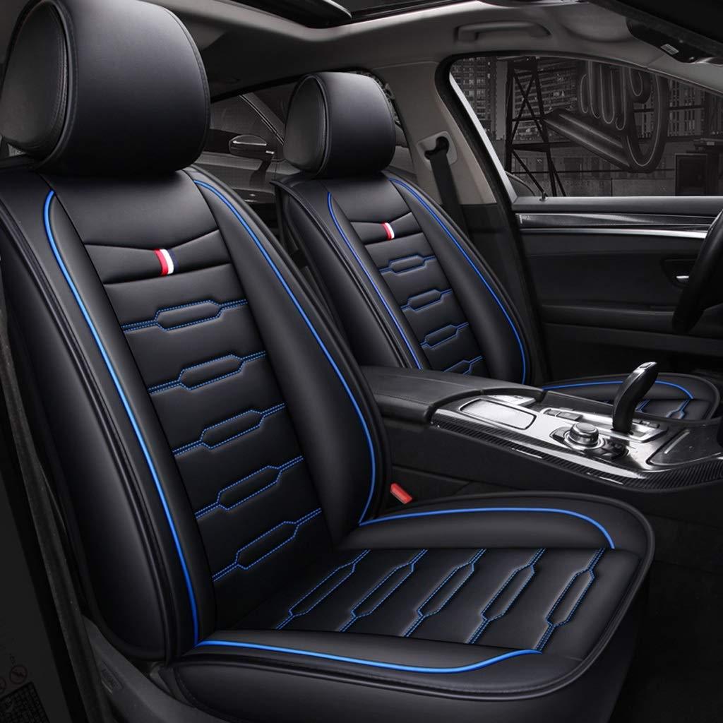 カーシートカバー、フロントとリアシート5席フルセットのユニバーサルレザー四季パッド互換性のあるエアバッグシートカバー防水レザーカーシートクッション (色 : 青)  青 B07RBVF1KB
