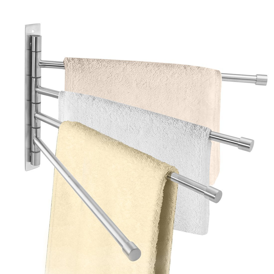 Goodfure SUS 304 Stainless Steel Swing Out Towel Bar 4-Bar Folding Arm Swivel Hanger Bathroom Storage Organizer Space Saving Wall Mount, Brushed Finish