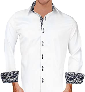 product image for White with Black Contrast Designer Dress Shirts - Made in USA
