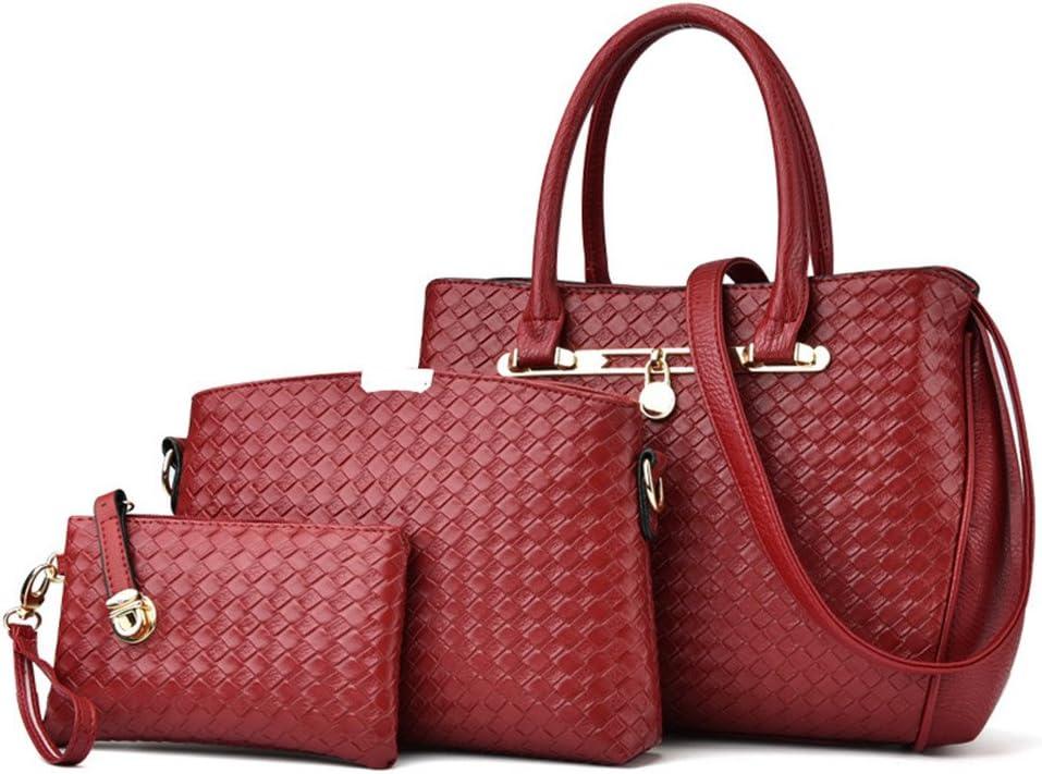 WiaLx Borse da Donna Borse a Tracolla in Pelle PU per Donna Borse da Donna Borse per borsette con Borsa a Portafoglio Coordinata 3 Pezzi Set per Le Donne Borsa della Maniglia Insieme (Color : Black) Red