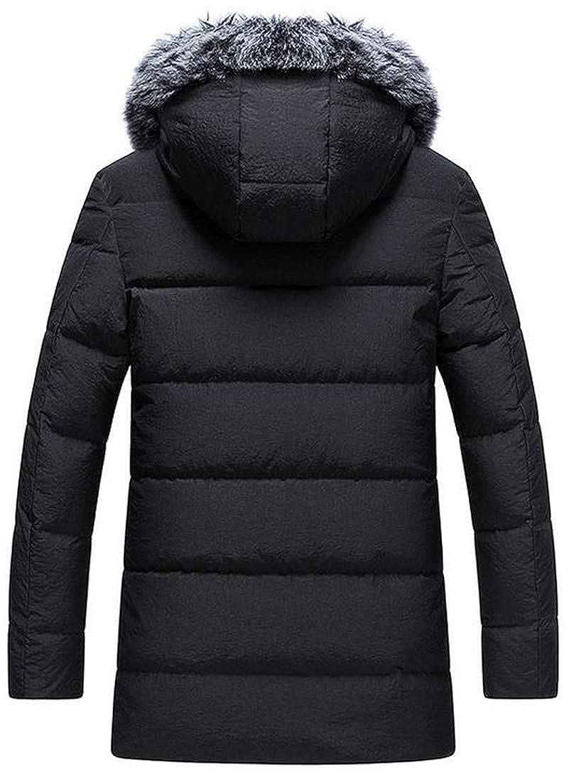 Lutratocro Mens Winter Warm Packable Faux Fur Hooded Puffer Down Coat Outwear