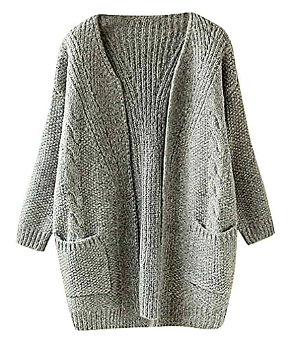 US&R Women's Retro Style Open Front Wool Blend Knitted Cardigan Solid Color, (Crochet Embroidered Sweater)