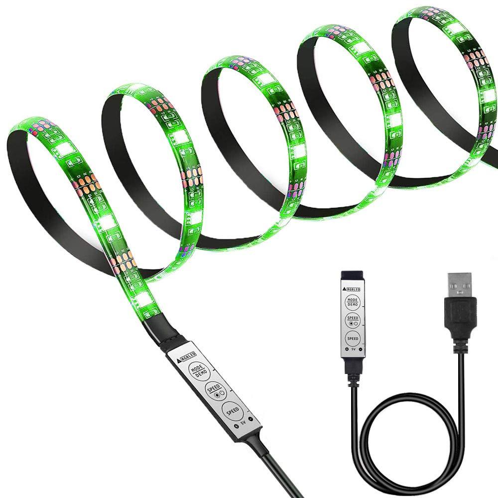Black PCB TV Backlight Kit,Computer Case LED Light,eTopxizu 3.28Ft Multi-Colour 30leds Flexible 5050 RGB USB LED Strip Light with 5v USB Cable and Mini Controller for TV/PC/Laptop Background Lighting LYSB01FJUMP6M-ELECTRNCS
