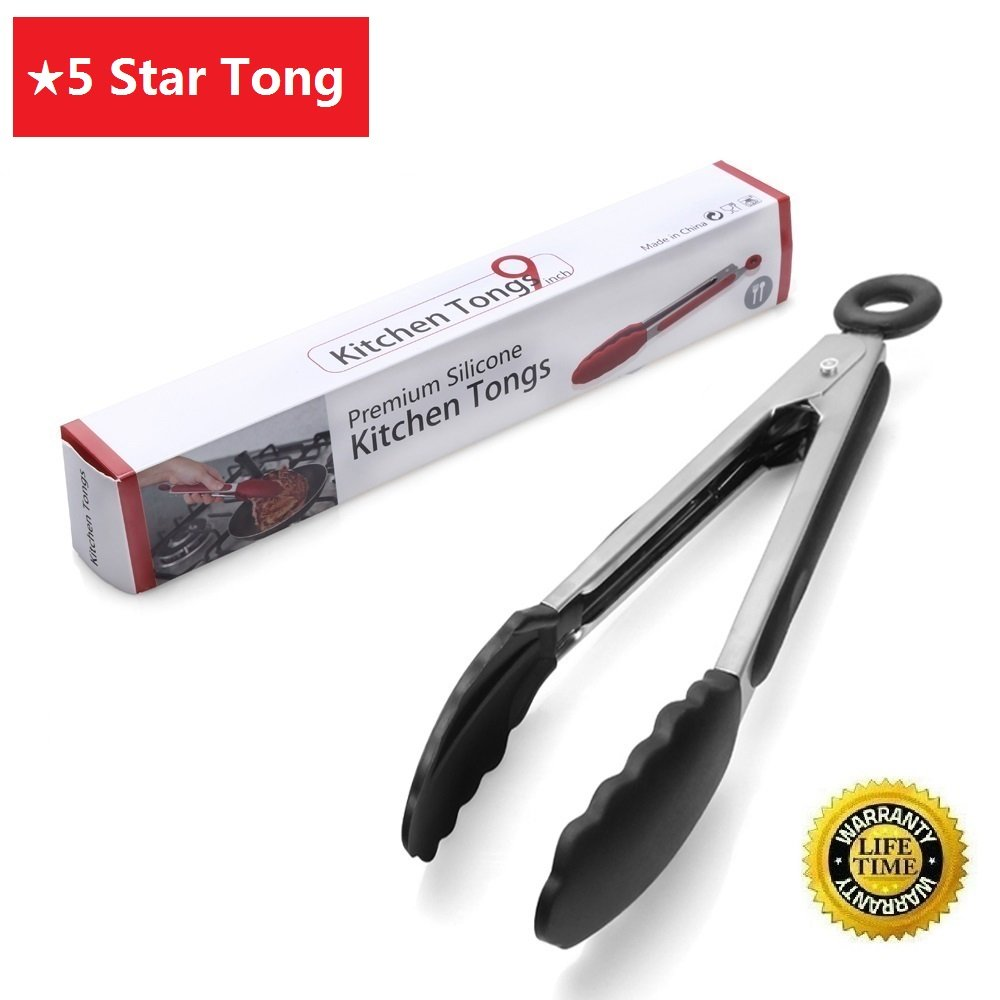 Amazon.com : Kitchen Tong, Homerci Professional German Stainless Steel Cooking  Tong With Silicone Tip And Locking Clip, 9 Inch Heat Resistant Cooking Tong  ...