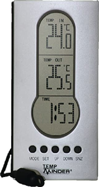 Minder Forschung mri-122ag Draht Indoor Outdoor Thermometer mit Uhr ...