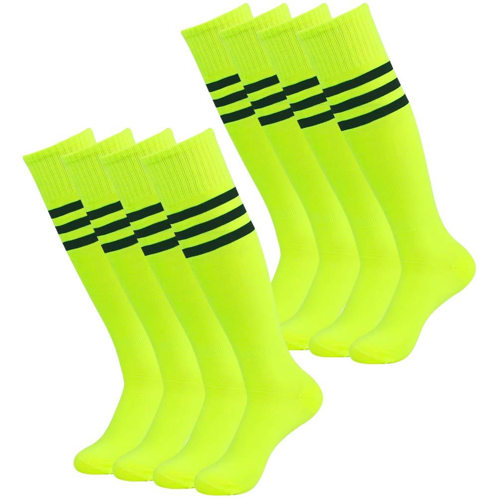 Three street 3street Knee High Socks, Unisex Stripe Ahthletic Halloween Sport Volleyball Cheering Squad Outfits Soccer Baseball Tube Socks Neon Yellow 8 Pairs by Three street