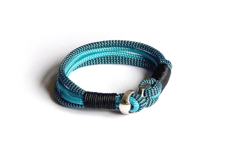 """'Toldo rocío de pulsera pulsera pulsera ancla–Pulsera """"vom Chiemsee© de Atelier Patricia König Color: Azul, Azul Oscuro–versilberte ancla cierre (22)"""